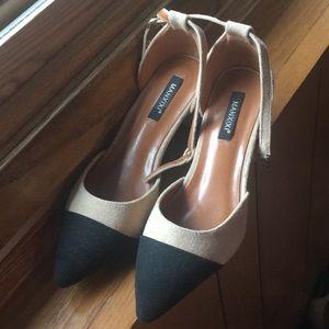 Shoes - Beige and black cap toe slingbacks